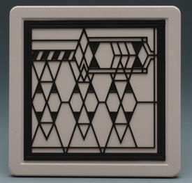 "-ROBIE HOUSE COASTERS S/4 FRANK LOYD WRIGHT DESIGN 4""X4""."