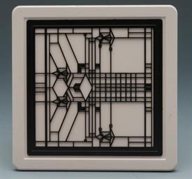 -ART GLASS II COASTERS S/4 FRANK LLOYD WRIGHT DESIGN 4X4 SQUARE.