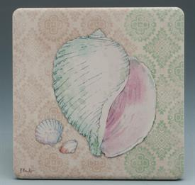 -TRANQUIL SHELLS COASTERS S/4 ASSORTED SHELL DESIGNS 4X4 SQUARE