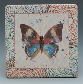 -BUTTERFLY MANDELA COASTERS S/4 ASSORTED BUTTERFLIES. 4X4 SQUARE.
