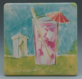 -TROPICAL ICONS COASTERS S/4 TROPICAL BEACH SCENES.4X4 SQUARE.
