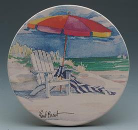 -BEACHES COASTERS S/4 VIEWS OF SANDY BEACHES AND WATER. 4X4 ROUND.