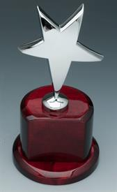 ,_STAR TROPHY SILVER PLATED STAR MOHOGANY BASE.ENGRAVEABLE PLATE INCLUDED.