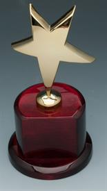 -STAR TROPHY GOLD PLATED 9'TALL WITH MOHOGANY BASE AND PLAQUE FOR ENGRAVING.
