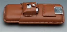 -CIGAR HOLDER(3) CUTTER LIGHTER LIGHT TAN LEATHER.
