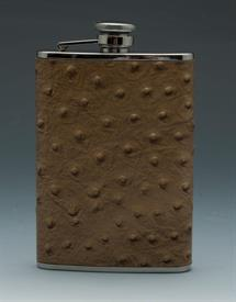 _,OSTRICH LEATHER FLASK BROWN 8OZ.STAINLESS STEEL.