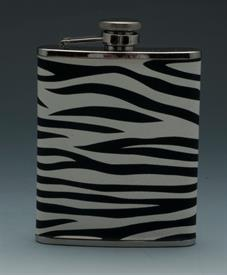 _,ZEBRA PATTERN STAINLESS STEEL 3OZ. FLASK.