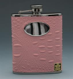 _,CROCO PINK LEATHER STAINLESS STEEL FLASK 6OZ.