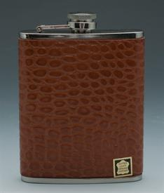 _,CROCO BROWN LEATHER STAINLESS STEEL FLASK.6OZ.