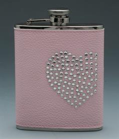 _,PINK FLASK W/HEART STAINLESS STEEL 6OZ