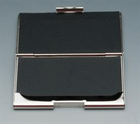 "_SILVER PLATED BUSINESS CARD HOLDER W MATTE SILVER ON FRONT,2.5""X4""."