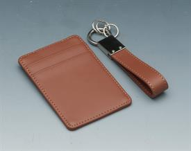 "_WALLET W/CLIP AND KEY RING SET BROWN SADDLE LEATHER.WALLET HOLDS D2 CREDIT CARDS PLUS 4.5"" KEY RING."