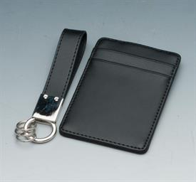 "_WALLET W/CLIP AND KEY RING SET BLACK LEATHER WALLET HOLDS 2 CREDIT CARDS.KEY RING IS 4.5""LONG."