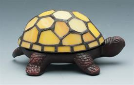 "-STANTED GLASS TURTLE ACCENT LAMP YELLOW BATTERY OPERATED NOT INCLUDED 5.625""3.875""2.5""H"