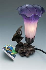 "-BUTTERFLY HANDBLOWN LILY ACCENT LAMP 5.5""X4.75""X8.25""H"