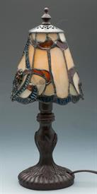 -TIFFANY STYLE MINI LAMP CARMEL SLAG AND AMBER 12.3""
