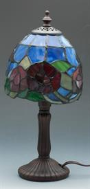 -TIFFANY STYLE MINI LAMP BLUE WITH BUTTERFLIES  12.3""