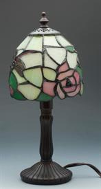 "-TIFFANY STYLE MINI LAMP PINK ROSES AND DRAGONFLY 12.3""H"