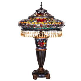 "-,GRADIOSE BEADED SHADE LAMP. 17"" WIDE, 27.5"" TALL"
