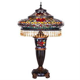 """-,GRADIOSE BEADED SHADE LAMP. 17"""" WIDE, 27.5"""" TALL"""