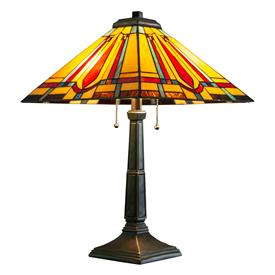 "-,MISSION STYLE TABLE LAMP. 23.5"" WIDE, 23.5"" TALL"