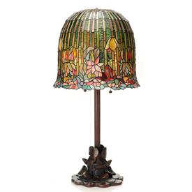 "-,BELL SHADE WATER LILY LAMP. 14.5"" WIDE, 29"" TALL"