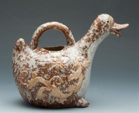 "-91671 DUCK PITCHER MOTTLED BROWN WITH TAN FLORAL DESIGN APPROX.7.5""TALL.4"