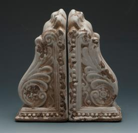 "_10825WH BOOKENDS WHITE NEO CLASSICAL DESIGN 8""WIDE 8""TALL."