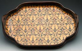 ,_51003 OBLONG TRAY WITH END HANDLES CENTER GLASS DESIGN FALL COLORS REDS.GOLDS.AND BROWNS.
