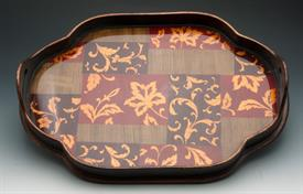 ",_52875 ONLONG TRAY WITH END HANDLES GOLD FLEUR DE LEI CENTER GLASS DESIGN GOLD/BROWN. 22"" IN LENGTH AND 15""WIDE"