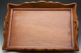"_43554WL WOODEN TRAY WITH HANDLES 25""IN LENGTH AND 15""WIDE WALNUT TONES."