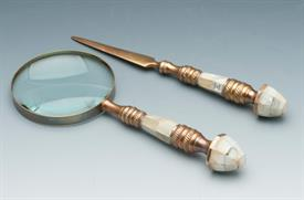 -52875 MAGNIFYING GLASS /LETTER OPENERBRASS AND MOTHER OF PEARL HANDLES.