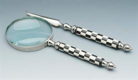 "-52520 MAGNIFING GLASS AND LETTER OPENER 10"" IN LENGTH CROME/BLACK &WHITE CHECK BONE."