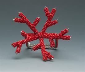 -RED BEAD CORAL NAPKIN RING