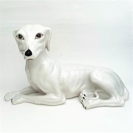 ",ITALIAN PORCELAIN WHIPPET 18""L X 11""H. SIGNED ITALY   ALL OVER CRAZING, WHICH IS TO BE EXPECTED"