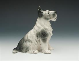 ",SITZENDORF PORCELAIN DOG, POSSIBLY A TERRIER. HAND PAINTED. RARE GREEN MARK, AFTER 1918. 6"" TALL. CRAZED.Q"