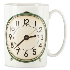 -,HAPPY ALARM CLOCK MUG. HOLDS 12OZ. MICROWAVE & DISHWASHER SAFE. CRAFTED OF PORCELAIN.