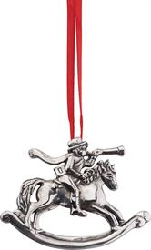 "-,ROCKING HORSE CAROLER ORNAMENT STERLING SILVER 2-3/4"" TALL BY 2"" WIDE"