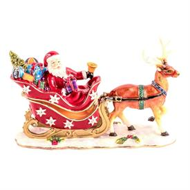 "-,1142146 JEWELED SANTA ON SLEIGH WITH REINDEER. 4.75"" LONG, 3"" TALL"