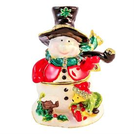 _,1013396 JEWELED SNOWMAN WITH PIPE AND ANIMALS
