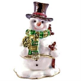 "-,1142151 JEWELED SNOWMAN BOX WITH GREEN SCARF. 2.25""x3""x1.75"""