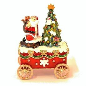 "-,1131703A SANTA & TREE ON CARRIAGE/WAGON TRINKET BOX. 4"" TALL, 2.5"" LONG"
