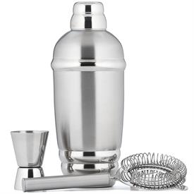 "-COCKTAIL SHAKER WITH STRAINER & JIGGER. 9"" TALL. MSRP $54.00"