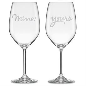 """-,WINE GLASSES MINE AND YOURS ETCHED INGLASS 9.5""""IN HEIGHT."""