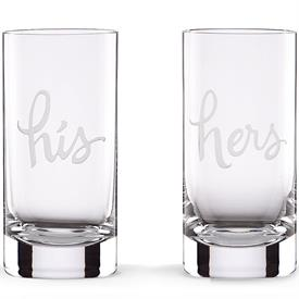 -,'HIS' 'HERS' HIGHBALL GLASS SET. 16 OZ. CAPACITY. DISHWASHER SAFE. BREAKAGE REPLACEMENT AVAILABLE.