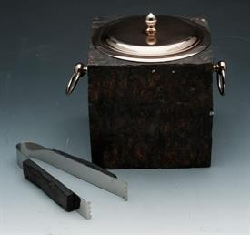 "_HUTCHINS ICE BUCKET/TONGS AND LID COPPERTONE STAINLESS LINER,TREE BARK LIKE OUTSIDE 6.5""X 6.5."