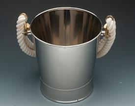 "_ICE BUCKET STAINLESS STEEL WITH ROPE HANDLES 9.25"" TALL AND 9.25"" ACROSS."