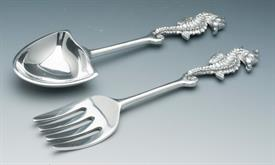 "_BAYSIDE SALAD 11"" FORK AND SPOON SET SEA HORSE HANDLES.ALUMINUM."