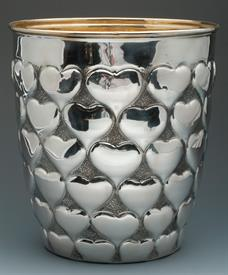 ",WINE COOLER WITH HEARTS CIRCA 1850 38 TROY OUNCES MADE IN AUSTRIA OF 800 FINE 80% PURE SILVER 9.5"" TALL GILT INTERIOR GORGEOUS PIECE!"