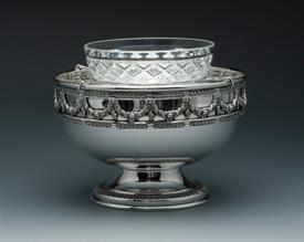"-CAVIER BOWL WITH GLASS LINER.SILVER PLATE  6 1/4"" WIDE 4"" DEEP. RICH AND ELEGANT STYLE."